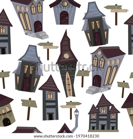 There are many unusual and interesting houses here. Drawn city. Earthy colors. Vector illustration for website, books, banners. T-shirt with a print. The property. Story. A pattern of unusual houses.