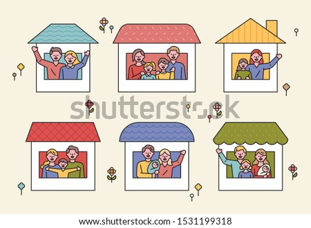There are various family members in each window. Various house shapes. flat design style minimal vector illustration.