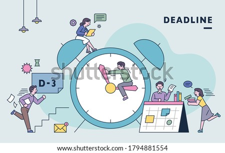 There is a huge clock and people are busy working to meet the deadline. flat design style minimal vector illustration.