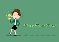 There is good idea, Money will follow concept. Successful businesswoman is walking holding a light bulb idea and having money floating behind, Cartoon vector illustration