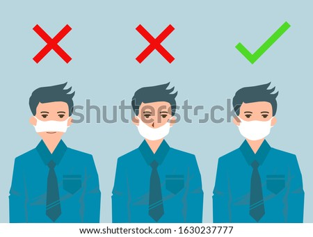 There're three men showing how to wearing protective mask correctly. The first and the second are wrong the third is right way to avoiding air pollution or avoiding viruses or illness.