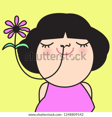 Stock Photo There's A Pretty Flower Glowing Out Of Girl's Nose. Concept Of People's Happy Relaxing Life Is Happens Between Breath Or An Inhale And An Exhale Concept Card Character illustration