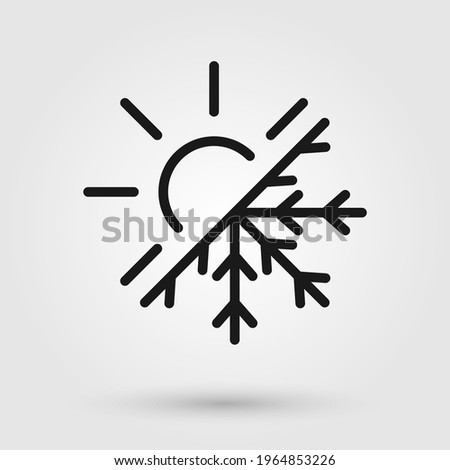 Thermal and cold resistant vector icon. Snowflake and sun illustration sign. Heat and frost symbol.