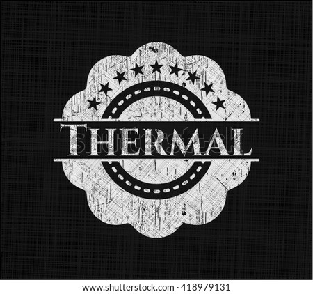 Thermal chalkboard emblem on black board