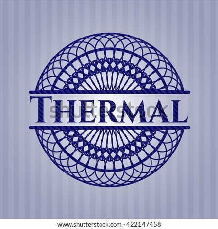 Thermal emblem with denim high quality background