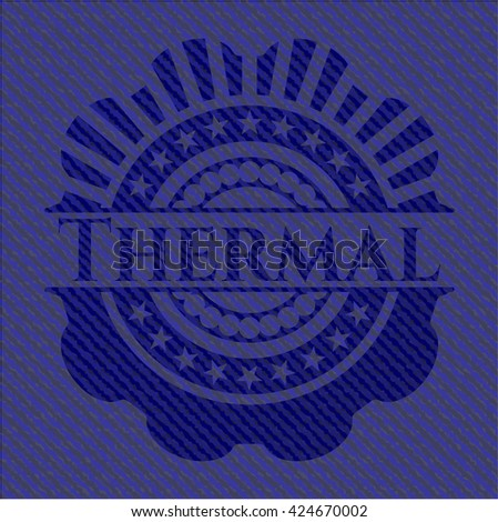 Thermal emblem with jean background