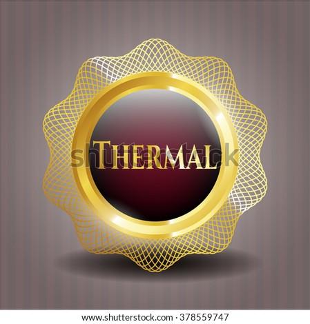 Thermal gold shiny emblem