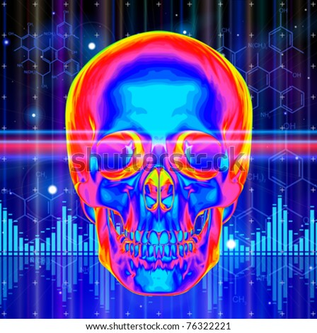 Thermal image of the human skull, blue technology background, lights, chemical formulas & digital wave