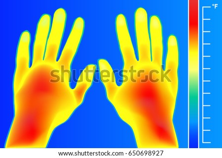 Thermal imager Human hands and finger vector illustration. The image of a male arms using Thermographic camera. Scale is degrees Fahrenheit. Electromagnetic spectrum and infrared energy.