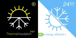 Thermal insulation icon. Temperature protection symbol. Sun snowflake sign. Weather insulate emblem. Vector illustration.