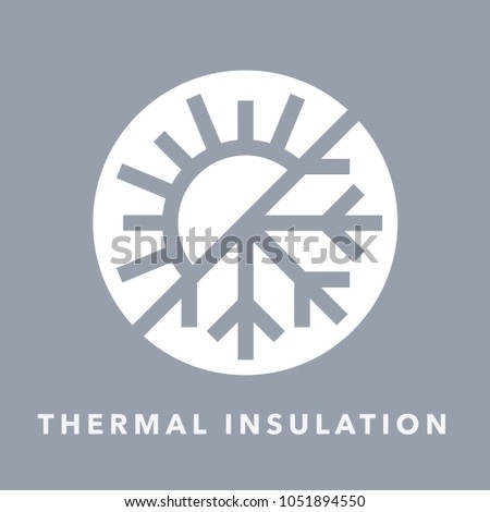 Thermal insulation icon with sun and snowflake warmth symbol. Vector illustration.