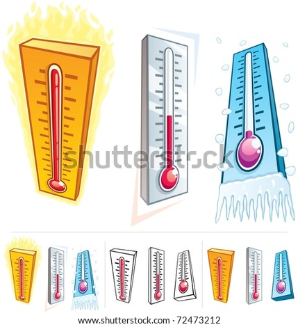 Thermometer: A thermometer in 3 different thermal conditions. Below are 3 additional versions of it. No transparency used in the vector file. The used gradients are basic linear gradients.