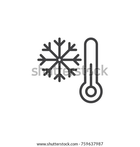 Thermometer and snowflake line icon, outline vector sign, linear style pictogram isolated on white. Cold winter weather symbol, logo illustration. Editable stroke