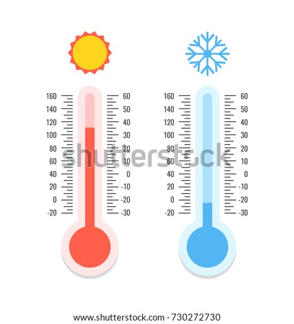 Thermometer and snowflake, sun icons. Celsius and fahrenheit. Measuring hot and cold temperature. Vector illustration.