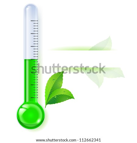 Thermometer by seasons. Spring. Illustration on white