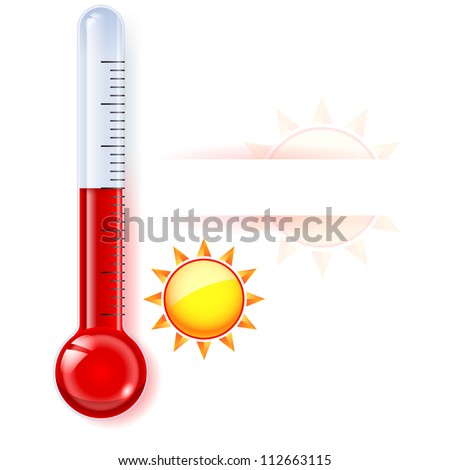 Thermometer by seasons. Summer. Illustration on white