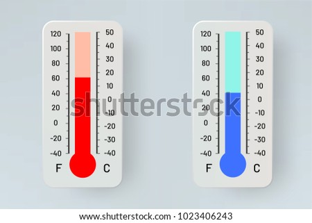 Thermometer. Degrees and Fahrenheit. Illustration of weather temperature changes. Infographics.