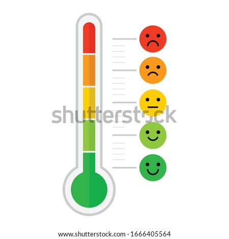 thermometer emotional scale difference icon. face emotion happy normal and angry. vector illustration flat design. isolated on white background. Temperature and weather forecast.