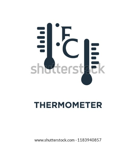 Thermometer Fahrenheit and Celsius icon. Black filled vector illustration. Thermometer Fahrenheit and Celsius symbol on white background. Can be used in web and mobile.