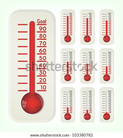 Thermometer graphic showing progress towards goal, vector, 10eps.