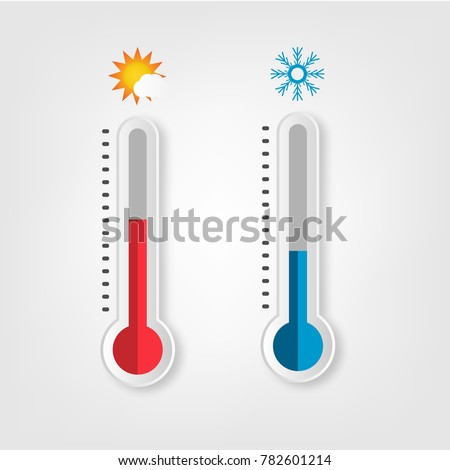 Thermometer. Hot, cold. Vector illustration. Meteorology thermometers measuring heat and cold with realistic shadow
