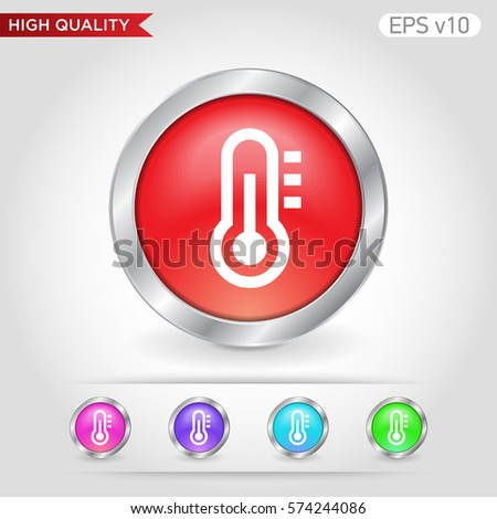 Thermometer icon. Button with thermometer icon. Modern UI vector.