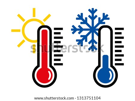 Thermometer icon or temperature symbol or emblem, vector and illustration