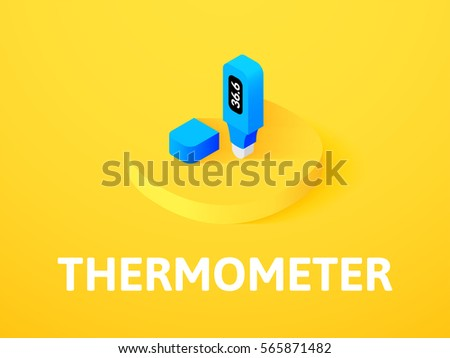 Thermometer icon, vector symbol in flat isometric style isolated on color background