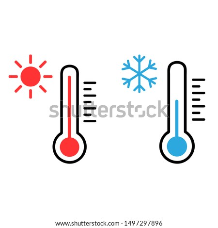 Thermometer vector icon set. Hot and cold weather illustration symbol collection. Foto stock ©