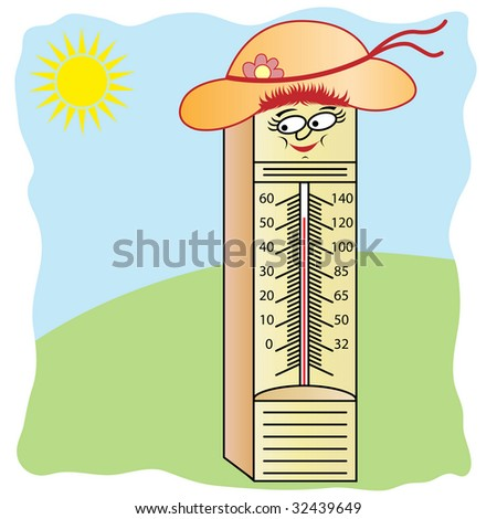 stock vector : Thermometer Wearing Summer Hat Cartoon Character
