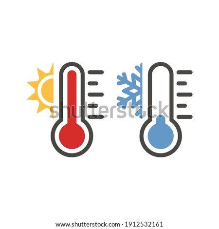 Thermometer with sun and snowflake icon set. Vector weather symbol set for warm, hot, cold temperature.