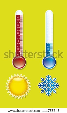 thermometer with sun and snowflake over green background. vector illustration