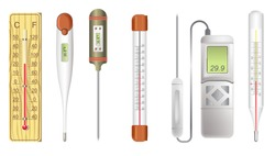 Thermometers or measuring tools isolated icons, weather and medicine vector. Medical check, electronic and mercury scale, atmosphere and human body. Measurement equipment or electronic devices