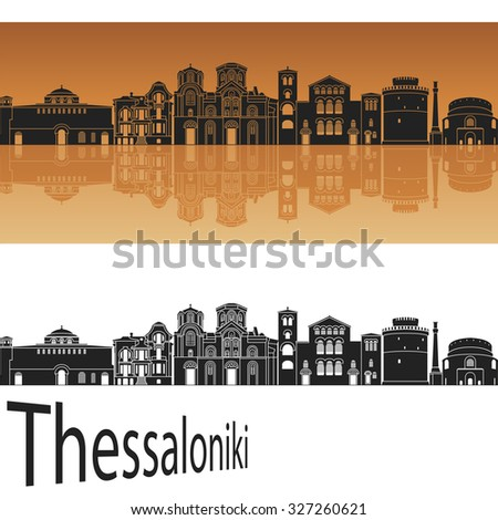 thessaloniki skyline in orange