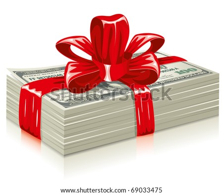 thick bundle of dollars, tied a red ribbon with a bow, the concept of success, vector editable