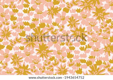 thick garden of painted flowers