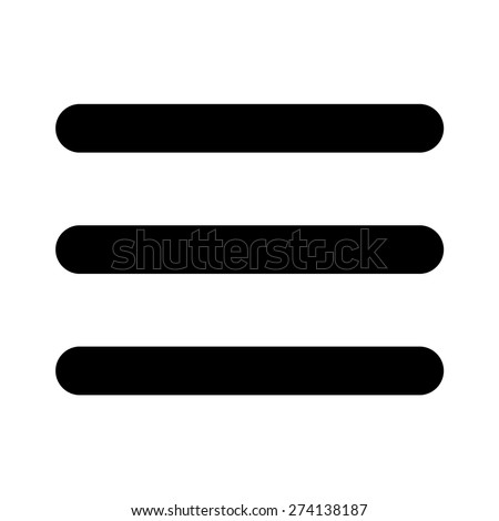 Thick hamburger menu bar line art vector icon for apps and websites