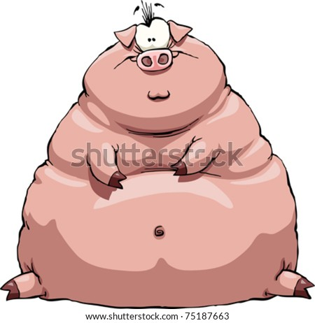 Thick pig on a white background, vector