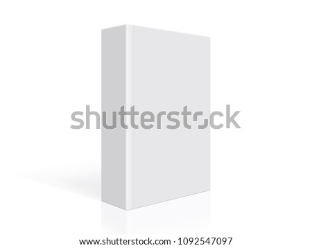 thick white book with hard cover stands on white background ストックフォト ©