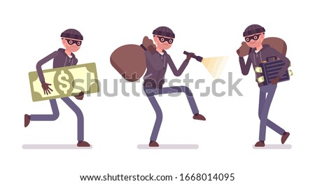 Thief, a masked man stealing money. Burglar committing robbery, outlaw fraud operating lawless financial crime, bandit tiptoeing with a stolen sack, flashlight. Vector flat style cartoon illustration Foto stock ©