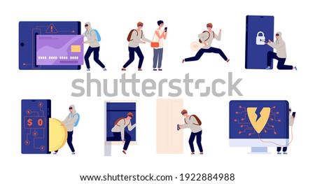 Thief and criminal. Home robbery, theft burglary cartoon. Burglar, cybercrime or hackers, utter database hacking and robbers vector characters Сток-фото ©