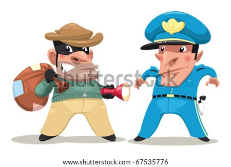 Thief and guard. Funny cartoon and vector isolated characters.