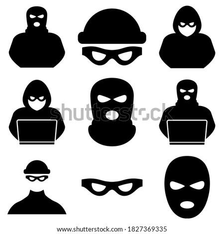 Thief, criminal, robber icon logo isolated on white background Foto stock ©
