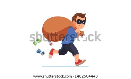 Thief criminal wearing disguise eye mask running carrying big sack full of cash money packs falling from it. Happy smiling robber man carrying loot steal. Flat vector character illustration Сток-фото ©