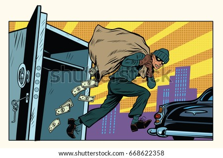 thief escapes from a Bank, bag of money. Crime and detective. Pop art retro vector illustration Foto stock ©