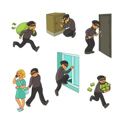Thief in mask breaking into house, picklocking, opening a door, escaping with loot, pickpocketing, set of hand drawn vector illustrations isolated on white background. Set of thief, burglar at work