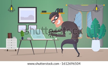 Thief in the house. A robber steals data from a laptop. Safety concept. Thief man stealing an apartment. A robber robbed a house. Flat style. Vector illustration. Сток-фото ©