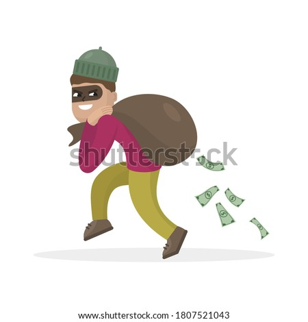 Thief  in the mask with bag full of money. Vector illustration. Foto stock ©