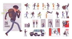 Thief, masked man stealing money character set. Burglar committing robbery, outlaw fraud operating lawless financial crime, bandit or hacker. Full length, different view, gestures, emotions, poses