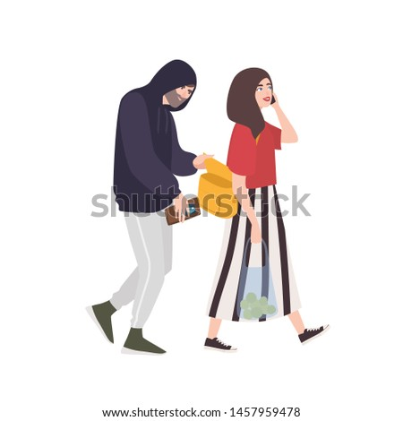 Thief, pickpocket or rubber dressed in hoodie stealing wallet or purse from woman's bag. Criminal committing crime and victim. Robbery or theft scene. Flat cartoon colorful vector illustration. Сток-фото ©
